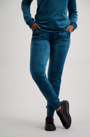 Azurite Velour Pant _ 120371 _ Teal
