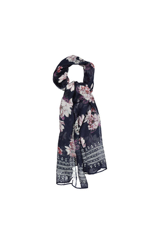 Robin Floral Print Scarf _ 120448 _ Navy