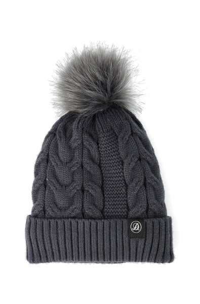 Christy Twist Cable Beanie _ 120725 _ Charcoal