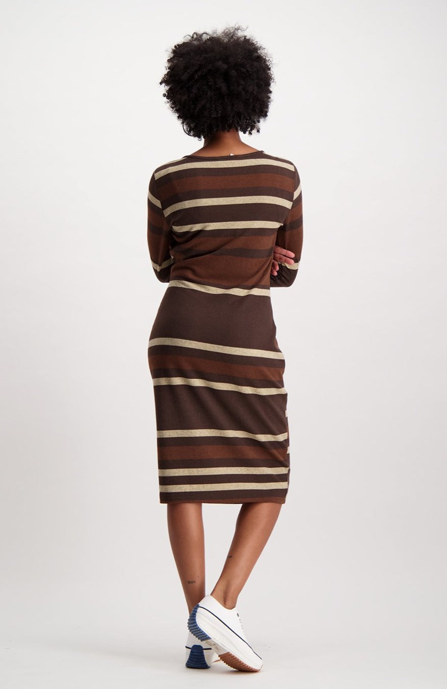 Addison Stripe Bodycon _ 120970 _ Brown
