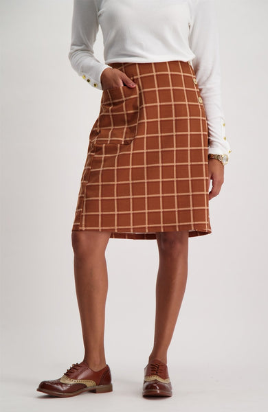 Teresa Mock Wrap Skirt _ 121044 _ Brown