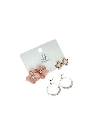 Loren 3 Pack Earrings _ 121219 _ Rose Gold