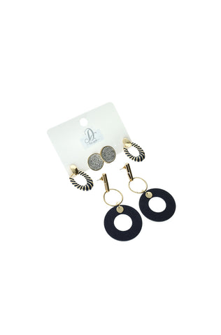 Cellini Statement 3 Pack Earrings _ 121220 _ Gold