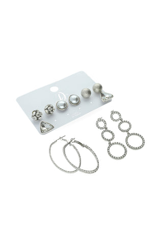 Kim 6 Pack Earrings _ 121226 _ Silver