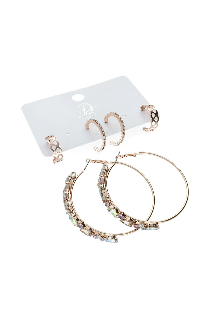 Destiny Multi 3 Pack Earrings _ 121455 _ Rose Gold