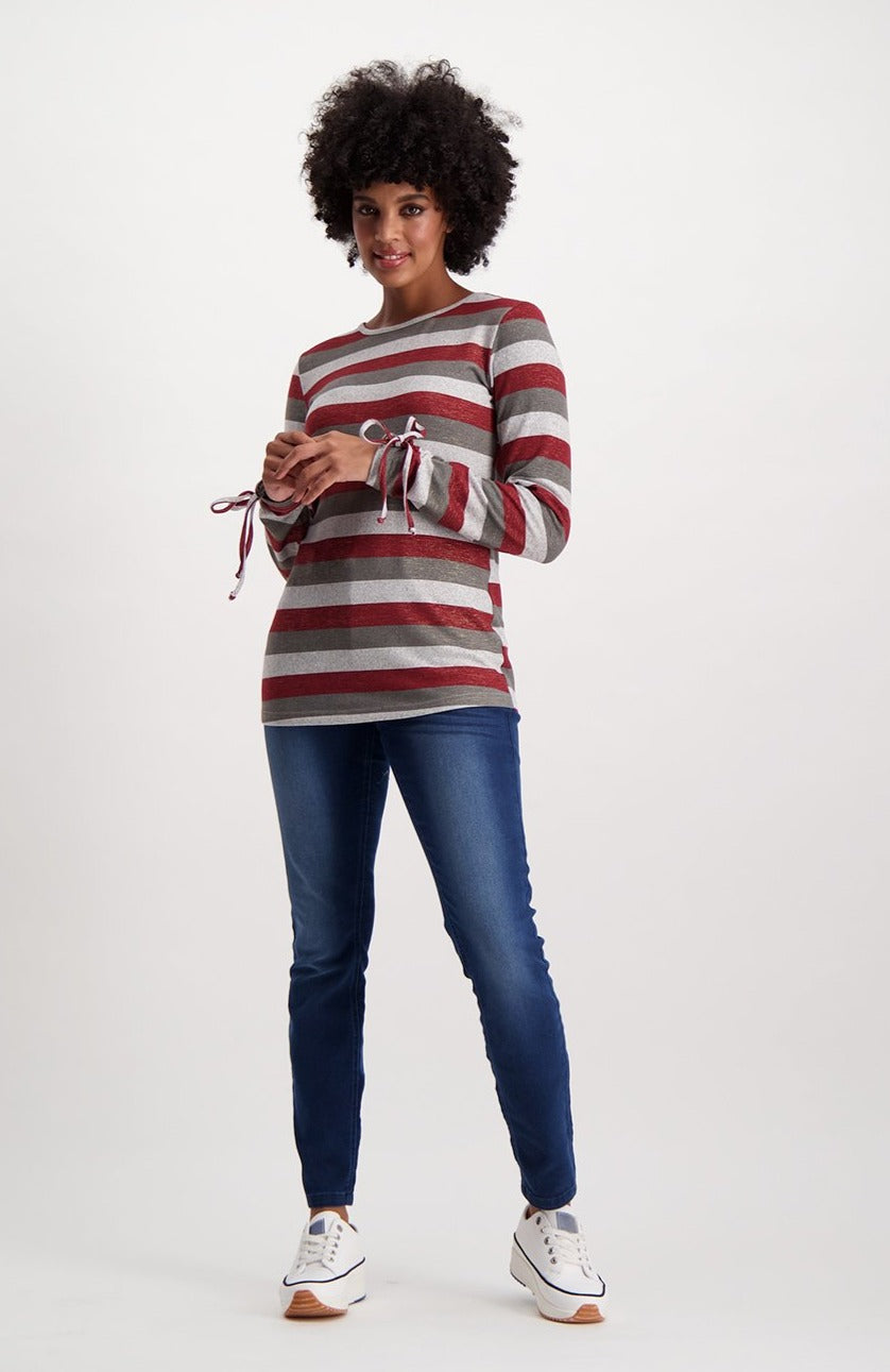 Clarine Striped Long Sleeve Top _ 121653 _ Burgundy Melange