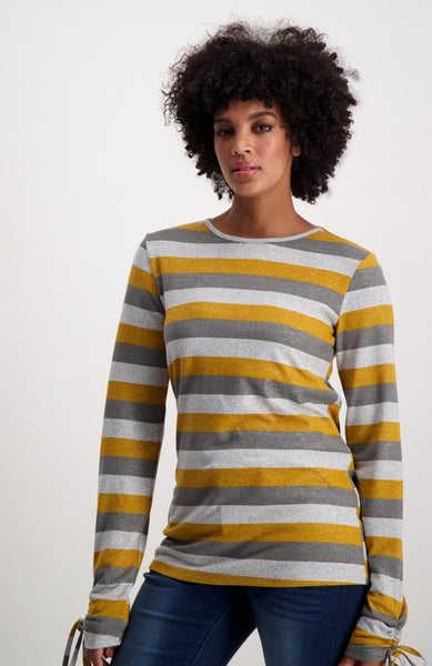 Clarine Striped Long Sleeve Top _ 121714 _ Ocre