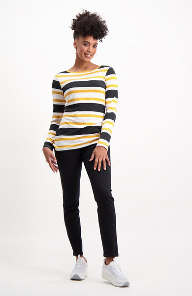 Arline Striped Long Sleeve Basic Top _ 121725 _ Ocre