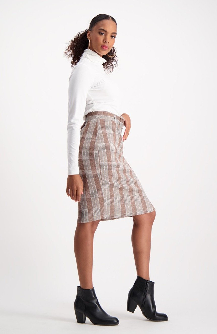 Jodie Check Belted Skirt _ 122406 _ Brown