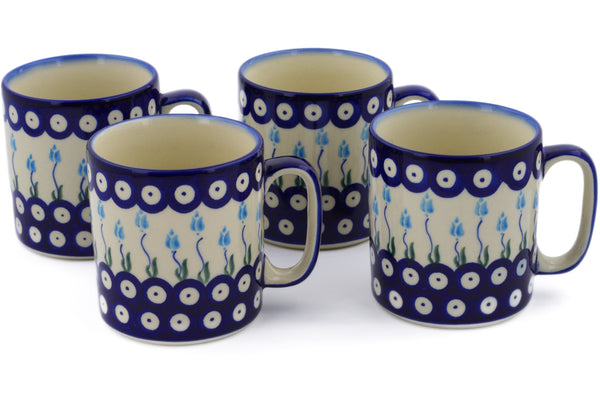 Polish Pottery mug set of 4 Peacock Tulip Garden Theme