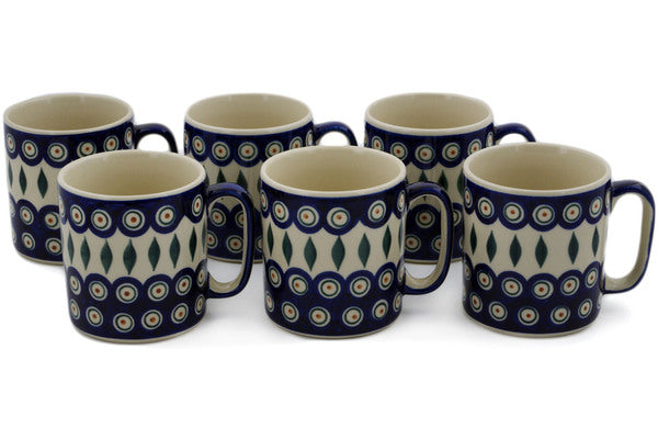 Polish Pottery mug set of 6 Peacock Theme