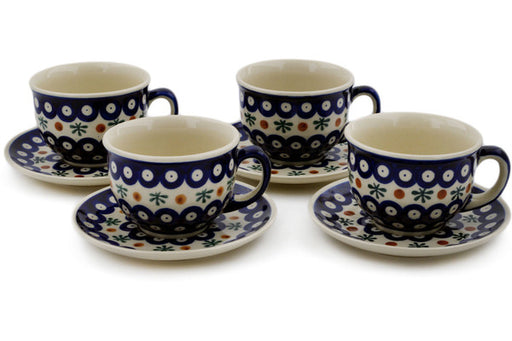 Polish Pottery Set of 4 Cups with Saucers Mosquito Theme
