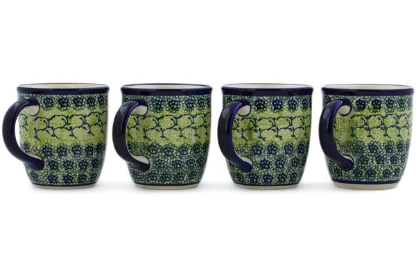 Polish Pottery Set of Four 12oz Mugs Emerald Forest Theme