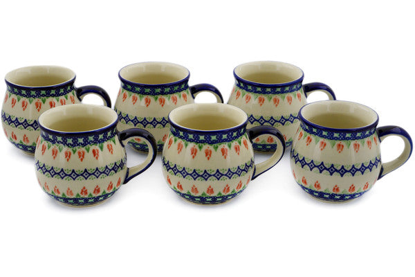 Polish Pottery mug set of 6 Tulips And Diamonds Theme