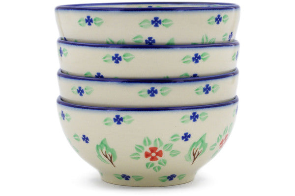 Polish Pottery bowls set of 4 Falling Leaves Theme