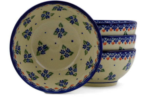 Polish Pottery bowls set of 4 Daisy Dollops Theme