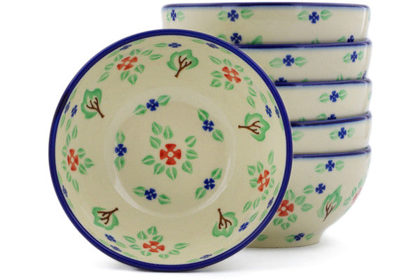 Polish Pottery bowls set of 6 Falling Leaves Theme