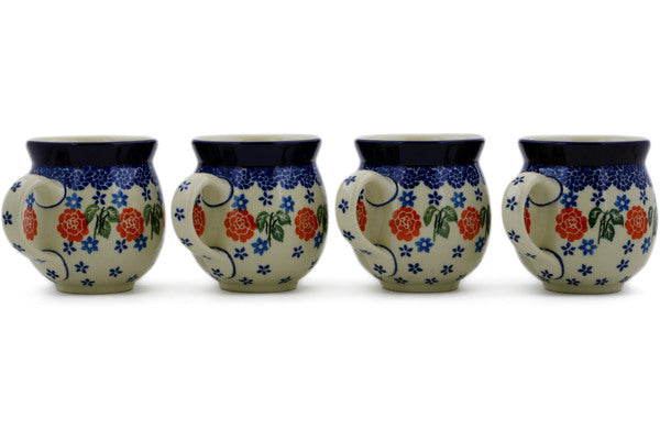 Polish Pottery Set of Four 12oz Bubble Mugs Rose Burst Theme