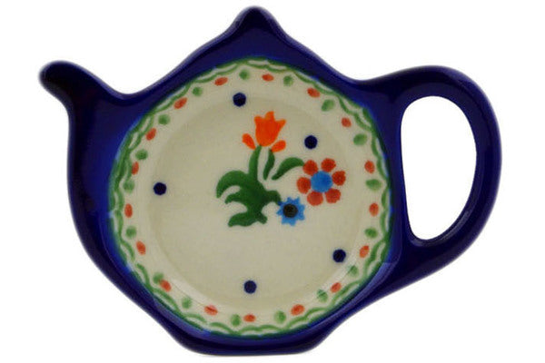 "Polish Pottery Tea Bag or Lemon Plate 4"" Spring Flowers Theme"