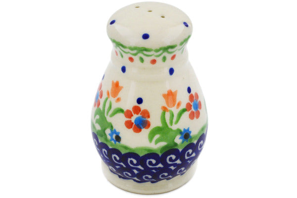 "Polish Pottery Pepper Shaker 3"" Spring Flowers Theme"
