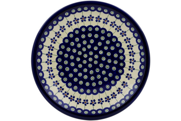 "Polish Pottery Plate 9"" Flowering Peacock Theme"