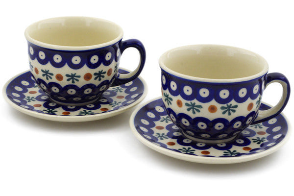 Polish Pottery cup w/ saucer set of 2 Mosquito Theme