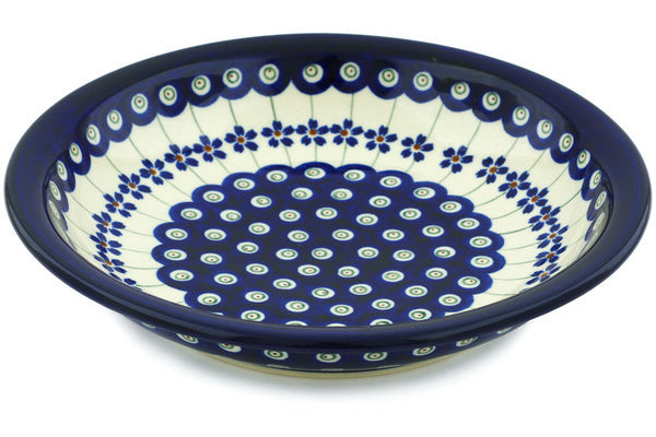 "Polish Pottery Pasta Bowl 9"" Flowering Peacock Theme"