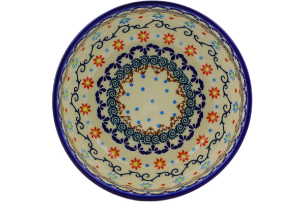 "Polish Pottery Bowl 7"" Sunflower Dance Theme"