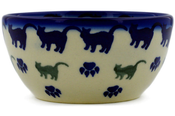 "Polish Pottery Bowl 4"" Boo Boo Kitty Paws Theme"