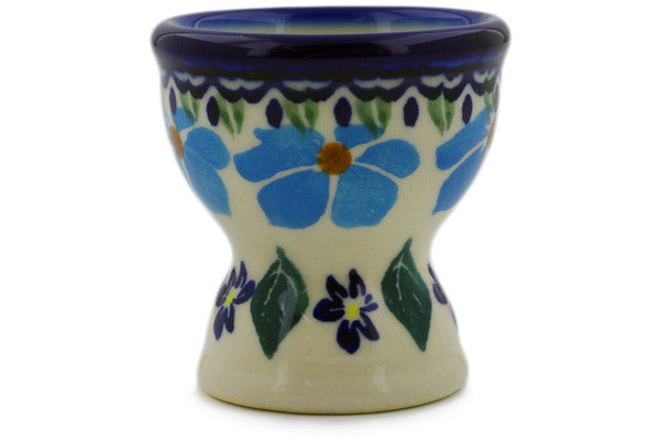 "Polish Pottery Egg Holder 2"" Pansy Morning Theme"