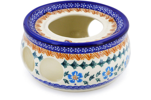 "Polish Pottery Heater 6"" Blue Cornflower Theme"