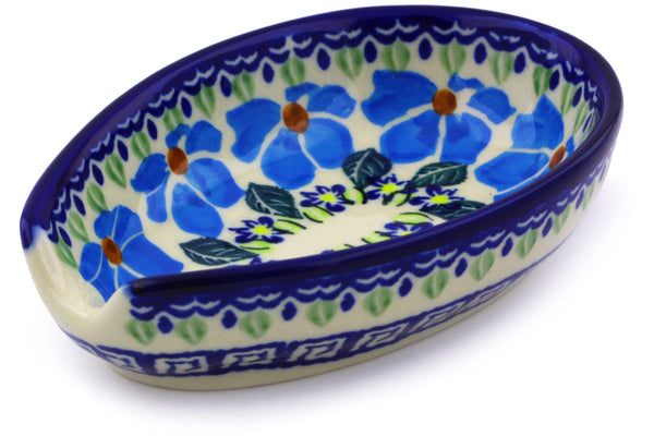 "Polish Pottery Spoon Rest 5"" Pansy Morning Theme"