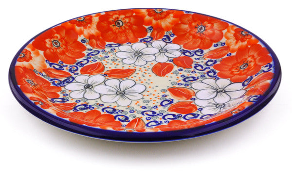 "Polish Pottery Plate 10"" Poppy Passion Theme"