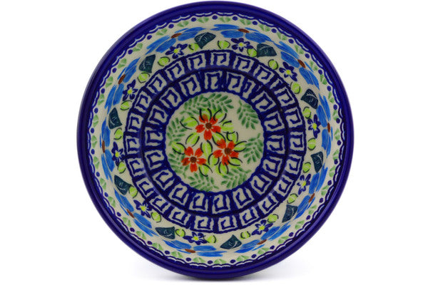 "Polish Pottery Bowl 5"" Pansy Morning Theme"