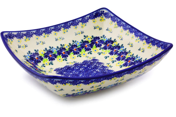 "Polish Pottery Square Bowl 8"" Spring Meadow Theme"