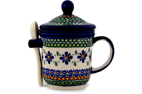 Polish Pottery Brewing Mug with Spoon 12 oz Gingham Flowers Theme