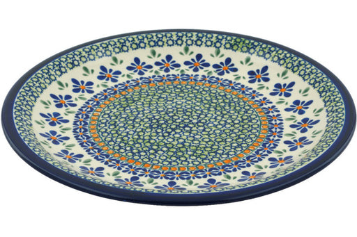 "Polish Pottery Plate 11"" Gingham Flowers Theme"