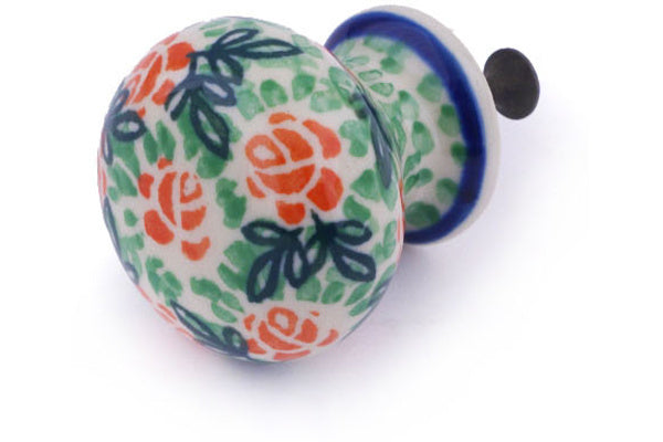 "Polish Pottery Drawer Pull Knob 1"" Rose Field Theme"