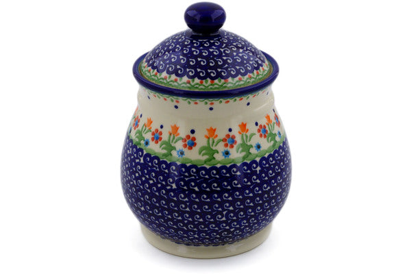 "Polish Pottery Jar with Lid 8"" Spring Flowers Theme"
