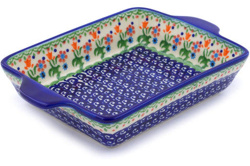 "Polish Pottery Rectangular Baker with Handles 9"" Spring Flowers Theme"