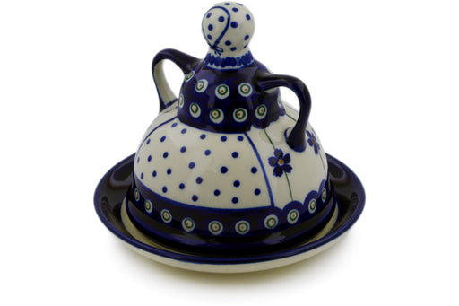 "Polish Pottery Cheese Lady 6"" Flowering Peacock Theme"