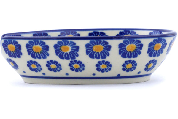 "Polish Pottery Spoon Rest 5"" Wreath Of Blue Theme"