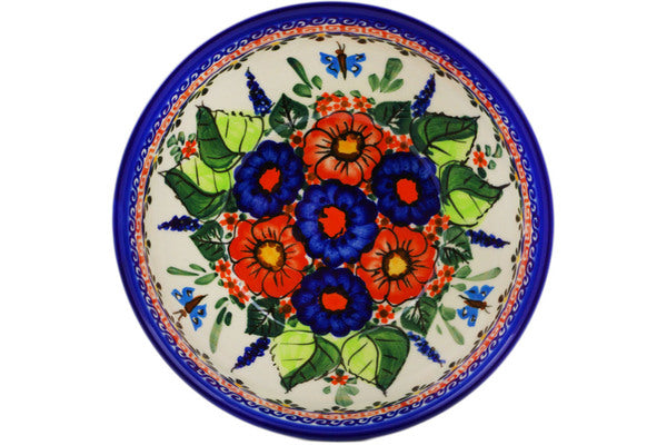 "Polish Pottery Bowl 6"" Spring Splendor Theme UNIKAT"