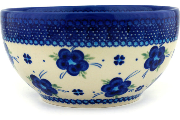 "Polish Pottery Bowl 7"" Bleu-belle Fleur Theme"