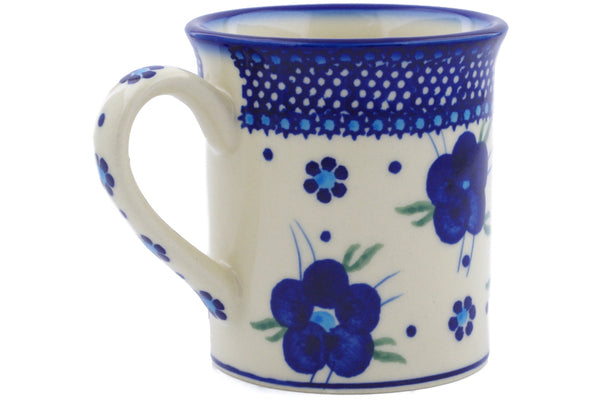 Polish Pottery Mug 8 oz Bleu-belle Fleur Theme