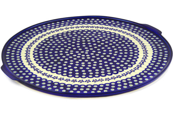 "Polish Pottery Pizza Plate 17"" Flowering Peacock Theme"