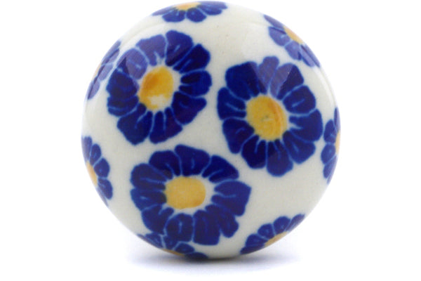 "Polish Pottery Drawer Pull Knob 1"" Flower Pads Theme"