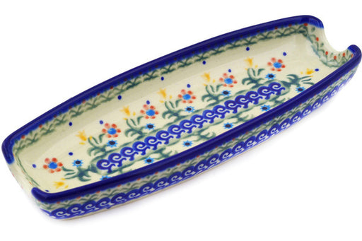 "Polish Pottery Corn Tray 9"" Spring Flowers Theme"