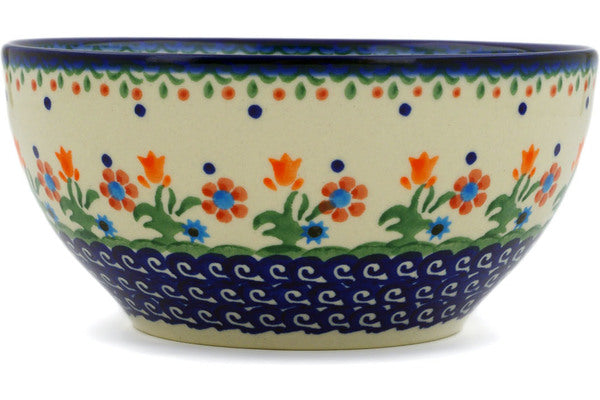 "Polish Pottery Bowl 6"" Spring Flowers Theme"