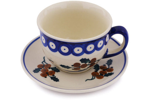 Polish Pottery cup w/saucer Yellow Holly Berries Theme